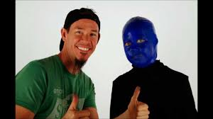 shon and riley time lapse the blue man group makeup costume you