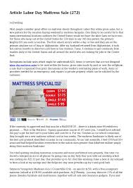 Article Labor Day Mattress Sale 272 Dwelling Most people consider  great