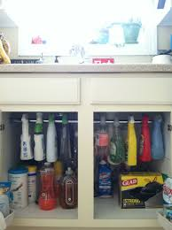 Funky Kitchen Cabinets Little Bit Funky Use A Tension Rod To Create More Storage Under