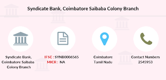 Syndicate Bank Coimbatore Saibaba Colony Ifsc Code Synb0006565