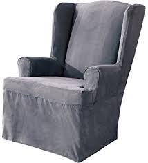 sure fit soft suede wing chair slipcover smoke blue sf34519