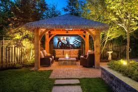 tropical outdoor lighting. lighting tiki hut patio tropical with fire pit fencing and gates outdoor