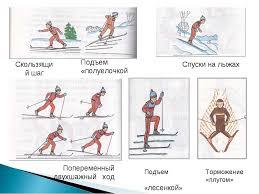 Лыжная подготовка в школе презентация по физкультуре Подъем лесенкой Спуски на лыжах Подъем полуелочкой Скользящий шаг Поперем