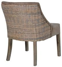 brown faux leather rattan dining chair