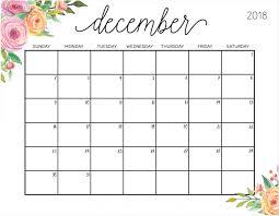 December Calendar Blank Floral December 2018 Wall Calendar Free Printable Calendar Blank