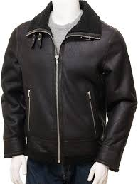men b3 er black shearling leather jacket men black slim fit fur collar jacket