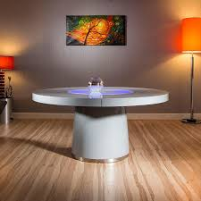 best large round grey gloss dining table glass lazy susan led lighting picture of for with