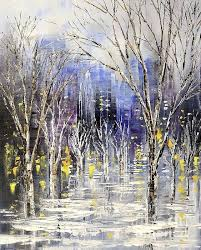 city scene branches dreamt of driving by winter fall blue buildings lights reflections wet streets dusk