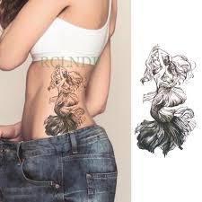 водостойкая временная татуировка стикер женский большой размер на спине русалка