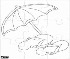 Kleurplaat Puzzel Van Parasol En Sandalen Kleurplaten