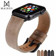 maikes leather watchband replacement for apple watch band 44mm 40mm 42mm 38mm series 4 3 2 1 all models iwatch watch strap band color black s band width