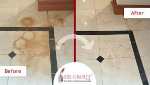 a stone cleaning job in longmont removed deep rust stains from this pitted marble