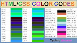 Web Color Chart Names Html Css Color Codes Hex And Rgb Color Codes