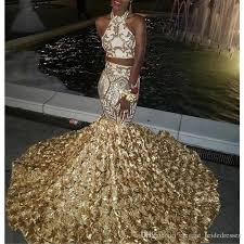 Jordan Fashions Size Chart 2019 Gold Rose Flowers Sequins Two Pieces Prom Dresses African Nigeria Black Girls Appliques Mermaid Evening Gowns 3d Flowers