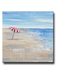 beach umbrella. Simple Umbrella ORIGINAL Art Abstract Painting Seascape Red Beach Umbrella Ocean Blue  Coastal Wall Decor 36x36 Intended