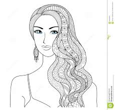 drawing woman zentangle hair style for coloring book for