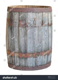 an old large oak barrel isolated on white background