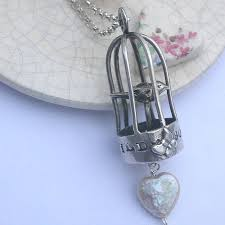 silver birdcage necklace