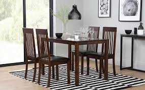 gallery milton dark wood dining table and 4 chairs set