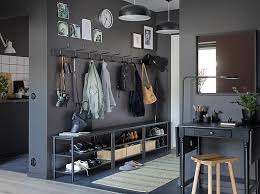 ikea hallway furniture. combine three black pinnig bench shoe racks and rack with hooks in ikea hallway furniture l