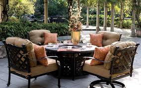 patio furniture deep seating group cast aluminum fire pit table 5pc camino real