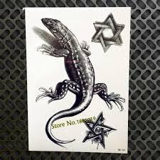 3d черная ящерица временные татуировки наклейки Gecko Lacertid дизайн водостойкие