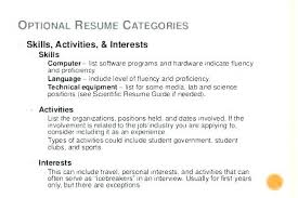 Interests And Activities On Resume Activities And Interests Resume