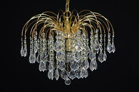 waterfall 3 light chandelier in gold 60w with crystals