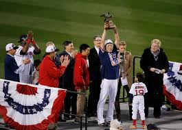 boston red sox tame detroit tigers to advance to world series boston red sox relief pitcher koji uehara hoists the championship trophy after the red sox beat the detroit tigers 5 2 in game 6 of the american league