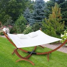 outsunny wooden frame hammock swing lounger w 2 pillows cream