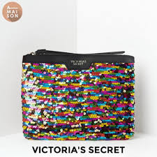 authentic victoria s secret colorful glitters sequin street faux leather zip hand clutch sparkle wrislet bag