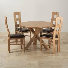 round dining table 4 chairs natural solid oak dining set 3ft 7 round table with 4 wave back and brown leather chairs 5739ec54ef4ef photos