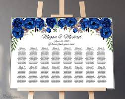 Seating Chart Royal Wedding Blue Wedding Seating Chart Template Boho Chic Floral Wedding Table Plan Royal Blue Wedding Seating Plan Editable Pdf A016