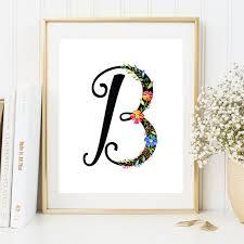 on wall art letter b with nursery monogram b letter initial wall art letter b floral