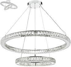 dar wonder polished chrome 45w led 2 tier crystal pendant