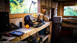 tiny house workshop. Inside, The Off-the-grid Workshop Even Has A Few Really Unique Features Such As Special Sharpening Bay To Keep His Tools Razor Sharp And Up Task Of Tiny House S