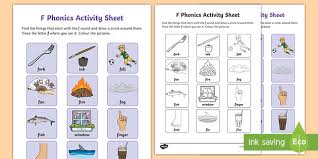 250 free phonics worksheets covering all 44 sounds, reading, spelling, sight words and sentences! F Sound Phonics Worksheet Teacher Made