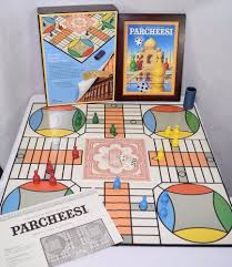 Old Fashioned Wooden Games PARCHEESI Board Game Wooden Box Vintage Game Collection 100 76