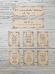 Wedding Table Plan Cards Seating Planner Vintage Style Book Page Ebay
