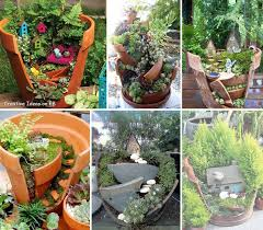 broken pots fairy gardens