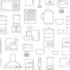 Kitchen Appliances On Credit Vector Line Kitchen Appliances Background Stock Vector Art