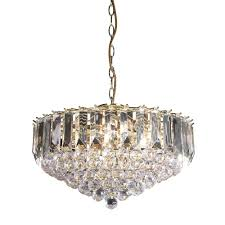 fargo 6 light clear acrylic crystal drop brass pendant light