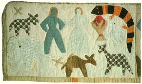 Art Threads: Friday Inspiration - Harriet Powers' Story Quilts & The enlargement of Adam and Eve naming the animals shows how she used  different fabrics. I like the simple shapes and symbols used in telling the  story. Adamdwight.com