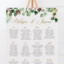 Seating Chart Wedding Sign Wedding Seating Chart Foliage Wedding Sign Seating Plan