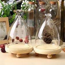 images gallery generic 3pcs glass display wooden base cloche bell jar