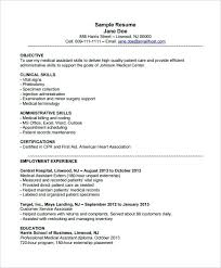 Objective For Resume Medical Assistant Template 8 Free Samples