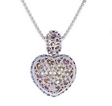 from acclaimed italian designer pasquale bruni a stunning wide multi gemstone heart pendant the