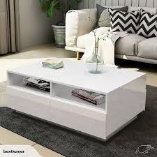 coffee table high gloss storage white
