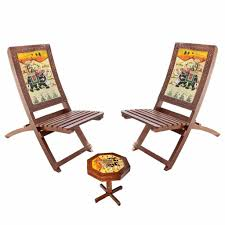 set of folding chairs. Hindoro Handicraft Wooden Folding Chairs And Table Set Of R