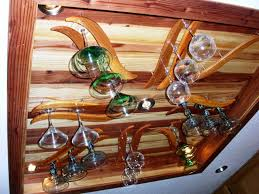image of diy wine glass rack wood